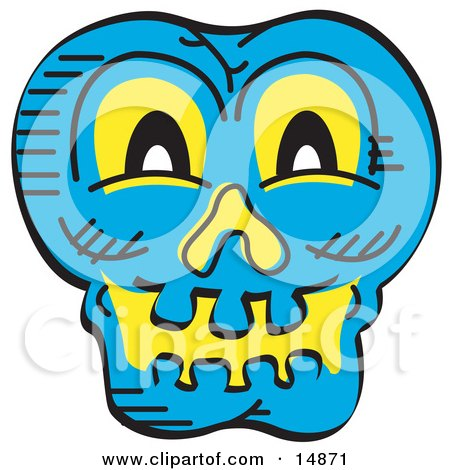 Scary Blue Halloween Skull Glowing With Yellow Light Posters, Art Prints