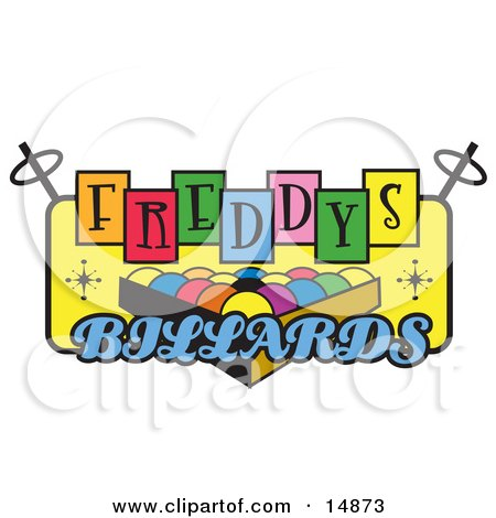 Rack Of Pool Balls On A Vintage Colorful Freddys Billiards Sign Clipart Illustration by Andy Nortnik