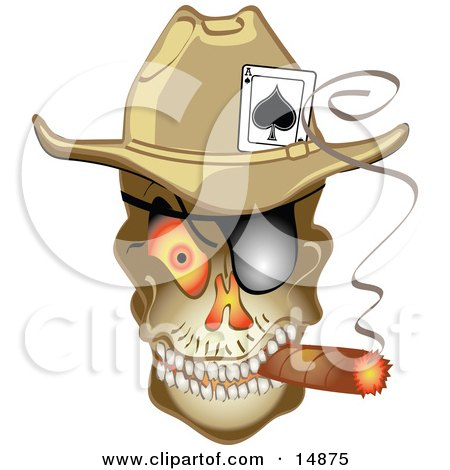 Evil Skeleton Cowboy With An Ace Of Spades In His Hat, Smoking A Cigar Clipart Illustration by Andy Nortnik