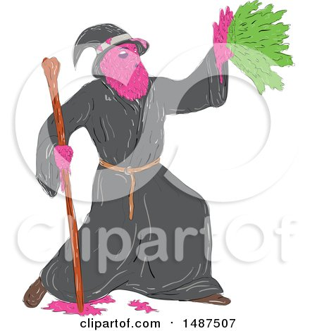 Clipart of a Sketched Grime Art Styled Wizard Casting a Spell - Royalty Free Vector Illustration by patrimonio