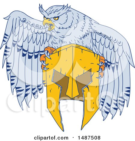 Clipart of a Sketched Styled American Horned Owl Mascot with a Spartan Helmet - Royalty Free Vector Illustration by patrimonio