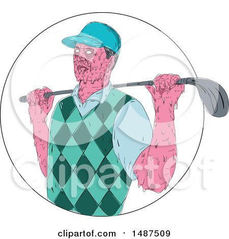 Clipart of a Sketched Grime Art Styled Golfer with a Club over His Shoudler - Royalty Free Vector Illustration by patrimonio