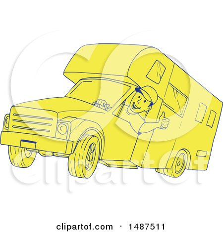 Clipart of a Sketched Man Driving a Camper Van - Royalty Free Vector Illustration by patrimonio