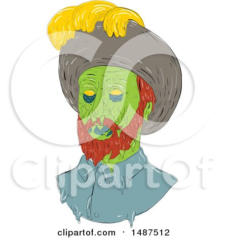 Clipart of a Sketched Grime Art Styled Spanish Conquistador - Royalty Free Vector Illustration by patrimonio