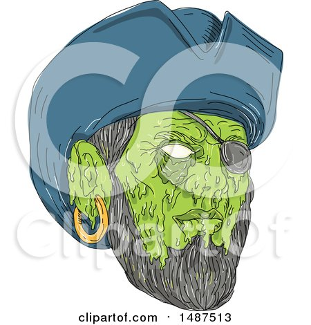Clipart of a Sketched Grim Art Styled Pirate Face - Royalty Free Vector Illustration by patrimonio