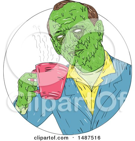 Clipart of a Sketched Grim Art Styled Man Drinking Coffee in a Circle - Royalty Free Vector Illustration by patrimonio