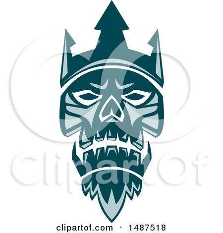 Teal Neptune Skull Wearing Trident Crown Posters, Art Prints