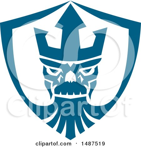Clipart of a Neptune Skull Wearing Trident Crown in a Shield - Royalty Free Vector Illustration by patrimonio