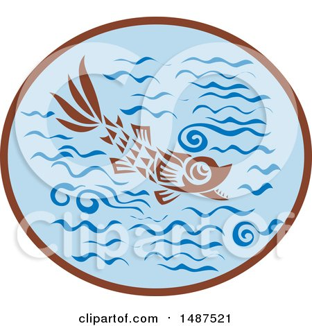Clipart of a Medieval Styled Fish in Water - Royalty Free Vector Illustration by patrimonio