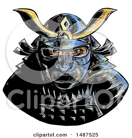 Clipart of a Samurai Warrior Wearing Facial Armor Mempo or Mengu Mask, on a White Background - Royalty Free Illustration by patrimonio