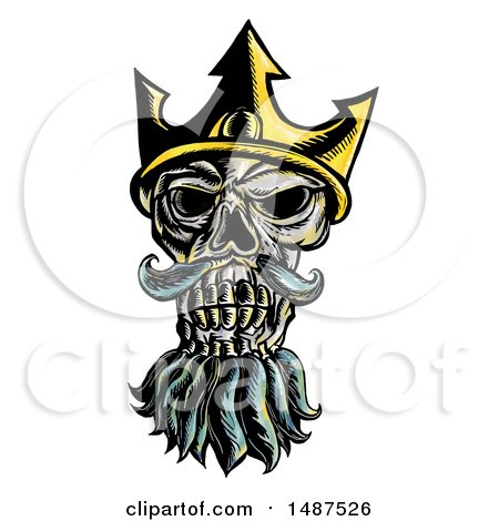 Clipart of a Skull of Neptune, Poseidon or Triton Wearing a Trident Crown, on a White Background - Royalty Free Illustration by patrimonio