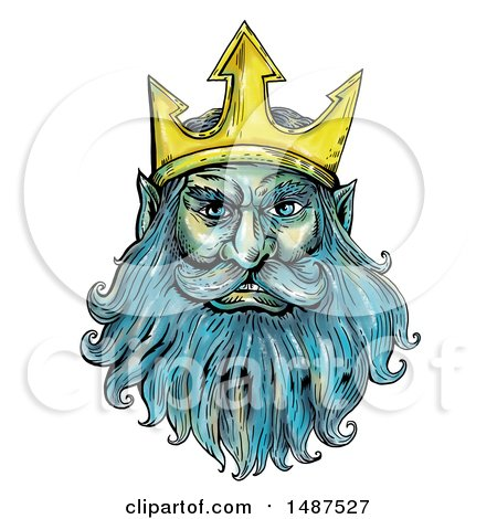 Clipart of Neptune, Poseidon or Triton with a Trident Crown, on a White Background - Royalty Free Illustration by patrimonio