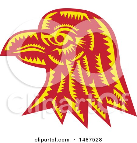 Clipart of a Woodcut Eagle Head in Profile - Royalty Free Vector Illustration by patrimonio