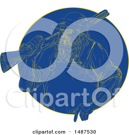 Clipart of a Retro Engraved Hunter with a Rifle in a Blue Circle - Royalty Free Vector Illustration by patrimonio