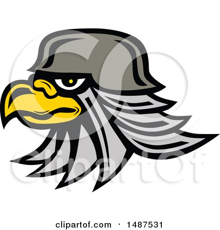 Clipart of a Profiled Bald Eagle Head Wearing a Helmet - Royalty Free Vector Illustration by patrimonio