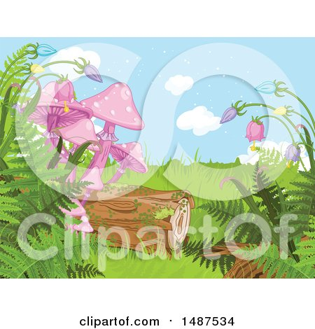 Clipart of a Nature Background with Wildflowers, Ferns, a Log and Mushrooms - Royalty Free Vector Illustration by Pushkin