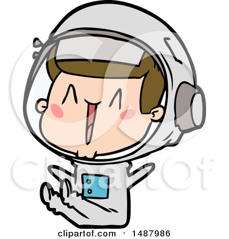Happy Cartoon Astronaut Sitting by lineartestpilot