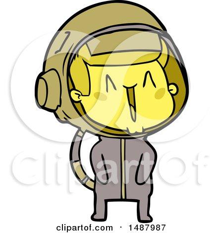 Happy Cartoon Astronaut by lineartestpilot
