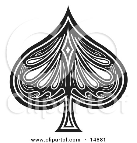 wild west retro clipart picture of a black spade on a playing card.