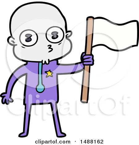 Cartoon Weird Bald Spaceman with Flag by lineartestpilot