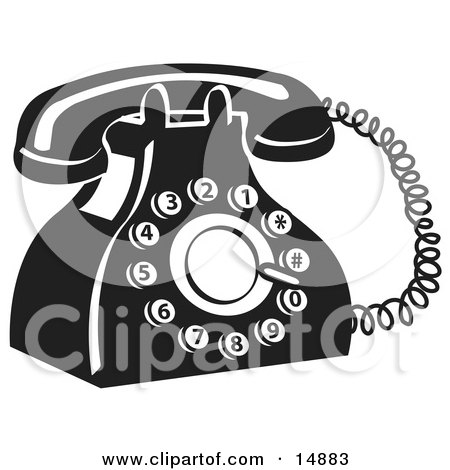 Old Fashioned Rotary Landline Telephone Clipart Illustration