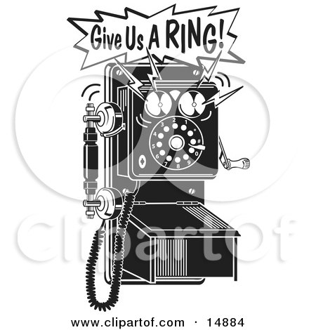 Ringing Black and White Wall Telephone Clipart Illustration by Andy Nortnik