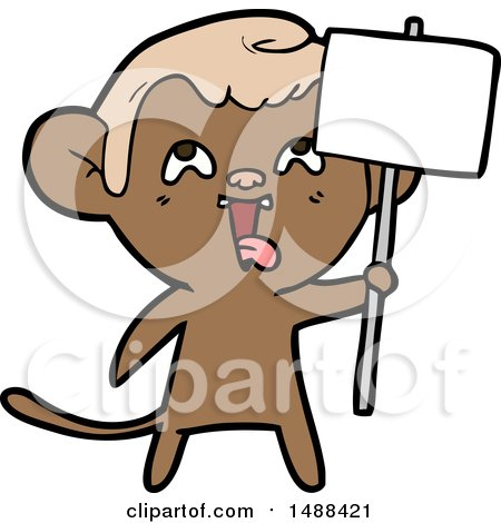 Crazy Cartoon Monkey with Sign by lineartestpilot