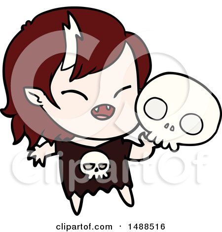 Cartoon Laughing Vampire Girl by lineartestpilot