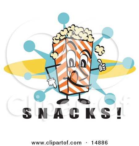 """Popcorn Carton Character Filled With Buttery Popcorn Pointing Down At Text Reading """"Snacks"""" At A Movie Theater Clipart Illustration by Andy Nortnik"""