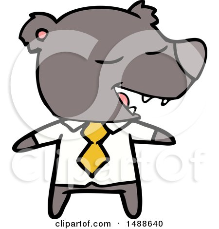Cartoon Bear Wearing Shirt and Tie by lineartestpilot