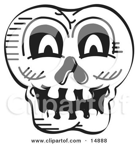 Scary Halloween Skull Black And White Clipart Illustration