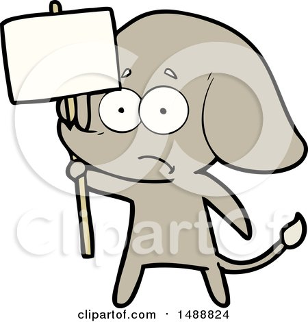 Cartoon Unsure Elephant with Protest Sign by lineartestpilot