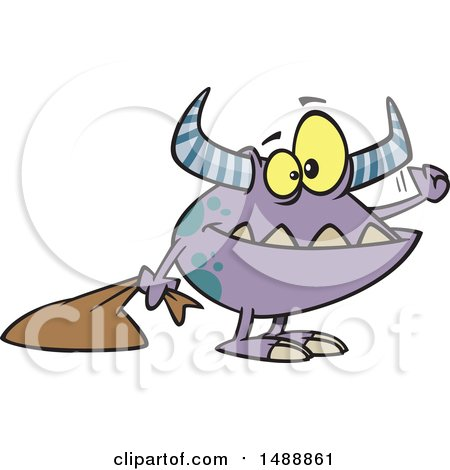 Clipart of a Cartoon Halloween Trick or Treating Monster Knocking - Royalty Free Vector Illustration by toonaday