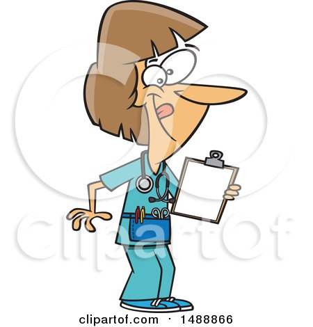 Clipart of a Female Nurse Holding a Clipboard and Wearing Waist Apron - Royalty Free Vector Illustration by toonaday