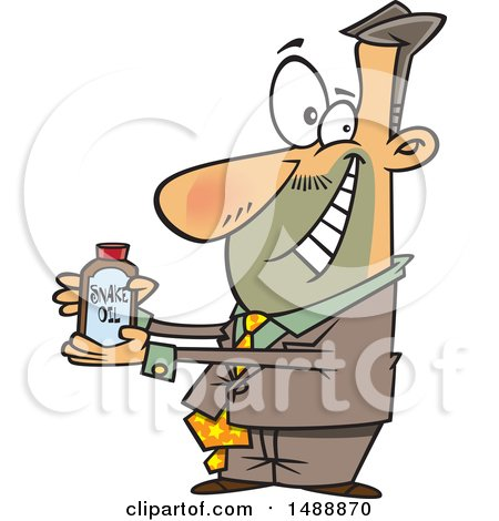 Clipart of a Cartoon Salesman Pitching Snake Oil - Royalty Free Vector Illustration by toonaday