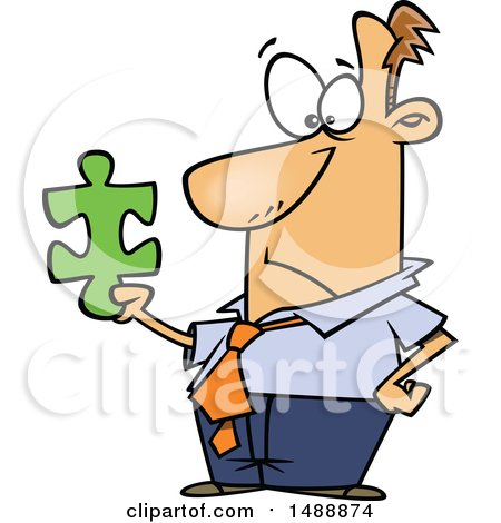 Clipart of a Cartoon Business Man Holding a Puzzle Piece - Royalty Free Vector Illustration by toonaday