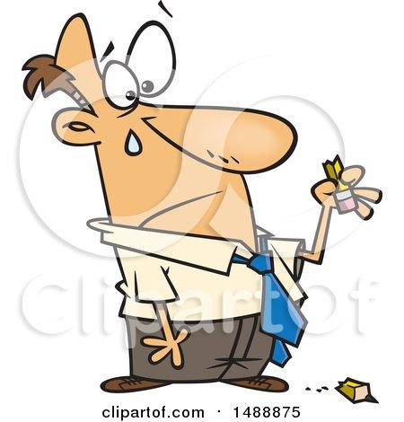 Royalty free rf clip art illustration of a cartoon businessman cartoon sad business man holding a broken pencil voltagebd Choice Image