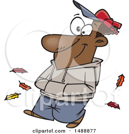 Clipart of a Cartoon Happy Man Taking an Autumn Stroll - Royalty Free Vector Illustration by toonaday