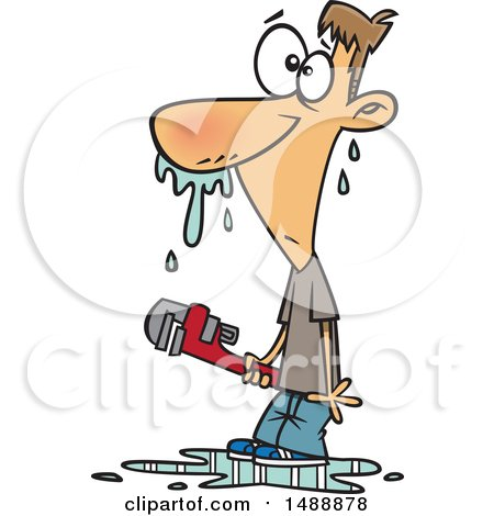 Clipart of a Cartoon Man Covered in Water After Trying to Fix a Plumbing Problem Himself - Royalty Free Vector Illustration by toonaday