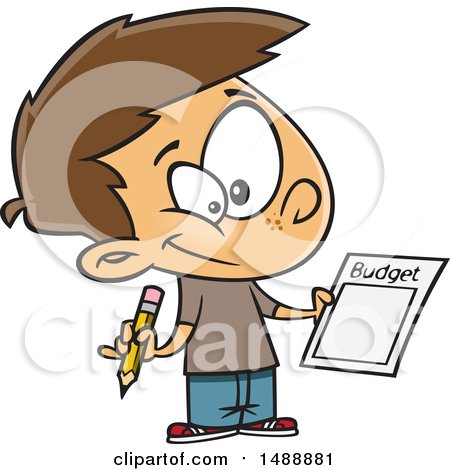 Clipart of a Cartoon Boy Writing up a Budget - Royalty Free Vector Illustration by toonaday