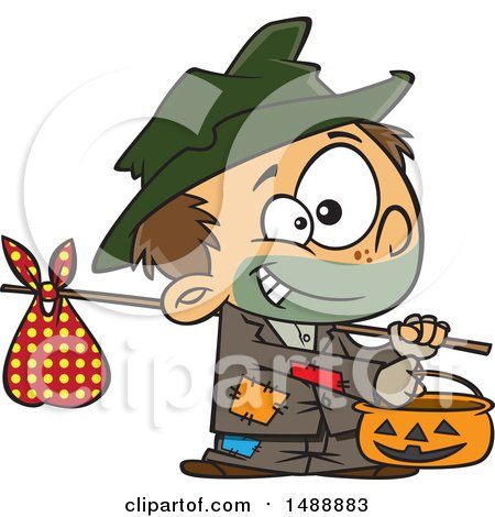 Clipart of a Cartoon Boy Trick or Treating on Halloween As a Hobo - Royalty Free Vector Illustration by toonaday