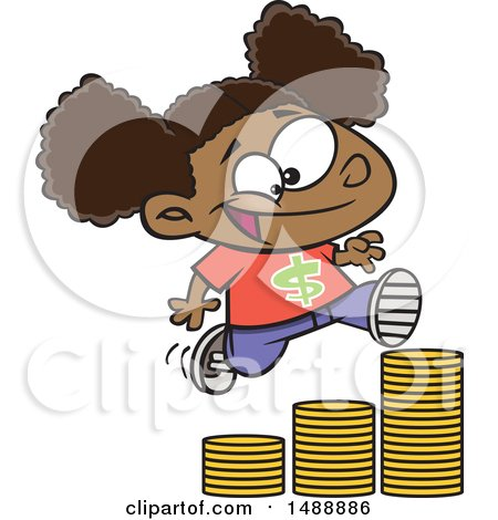 Clipart of a Cartoon Girl Running up a Stack of Coins - Royalty Free Vector Illustration by toonaday