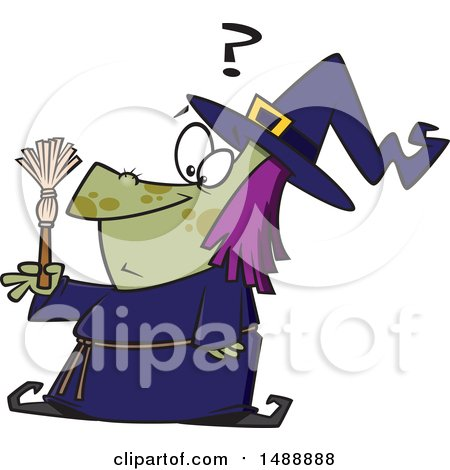 Clipart of a Cartoon Witch Looking at a Tiny Broom - Royalty Free Vector Illustration by toonaday