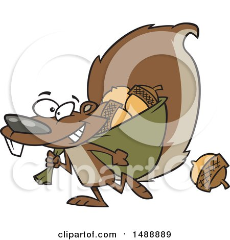 Clipart of a Cartoon Squirrel Gathering Acorns - Royalty Free Vector Illustration by toonaday