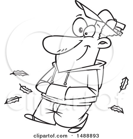 Clipart of a Cartoon Lineart Happy Man Taking an Autumn Stroll - Royalty Free Vector Illustration by toonaday