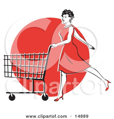 Young Woman In A Red Dress And High Heels, Walking And Pushing A Shopping Cart In Front Of A Red Circle  Posters, Art Prints