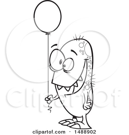 Clipart of a Cartoon Lineart Monster Holding a Party Balloon - Royalty Free Vector Illustration by toonaday