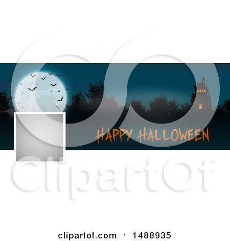 Clipart of a Happy Halloween Social Media Banner with a Haunted House - Royalty Free Vector Illustration by KJ Pargeter