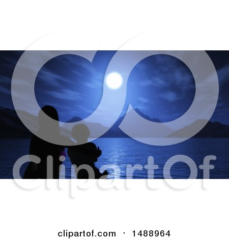 Clipart of a Silhouetted Mother and Sun Sitting by the Ocean at Night - Royalty Free Illustration by KJ Pargeter