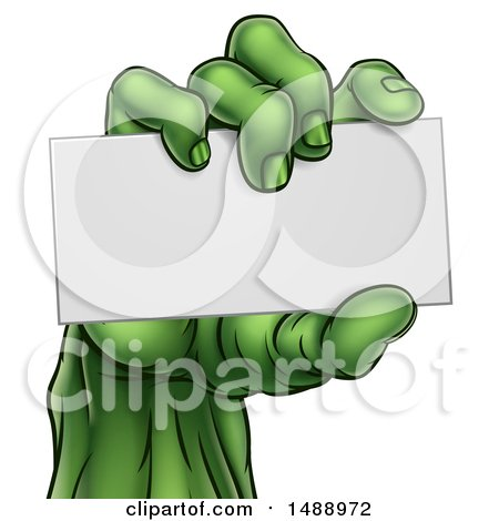 Clipart of a Green Zombie Hand Holding a Blank Business Card - Royalty Free Vector Illustration by AtStockIllustration